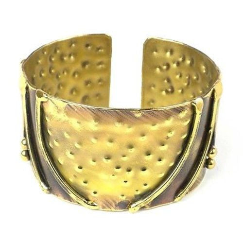 Handcrafted Arches Brass Cuff - Brass Images (C)
