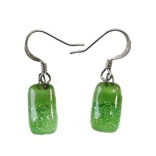 Small Rectangular Glass Earrings - Green Bubbles - Tili Glass