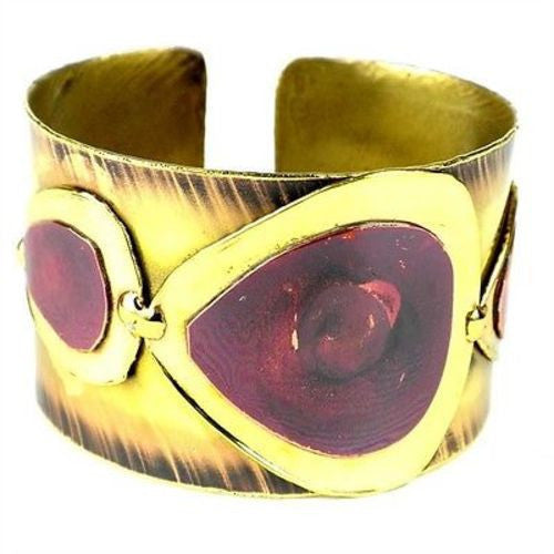 Red Copper and Brass Droplets Cuff - Brass Images (C)