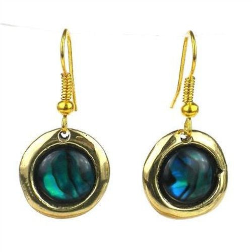 Deep Sea Paua Shell Earrings - Brass Images (E)