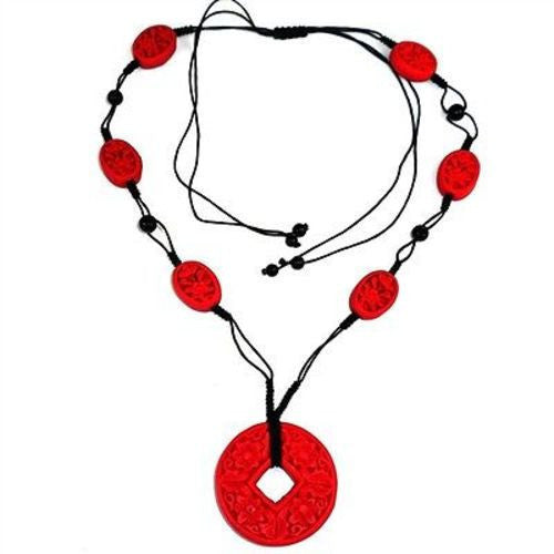 Carved Red Wood Beads on Black Cord Necklace - Starfish Project