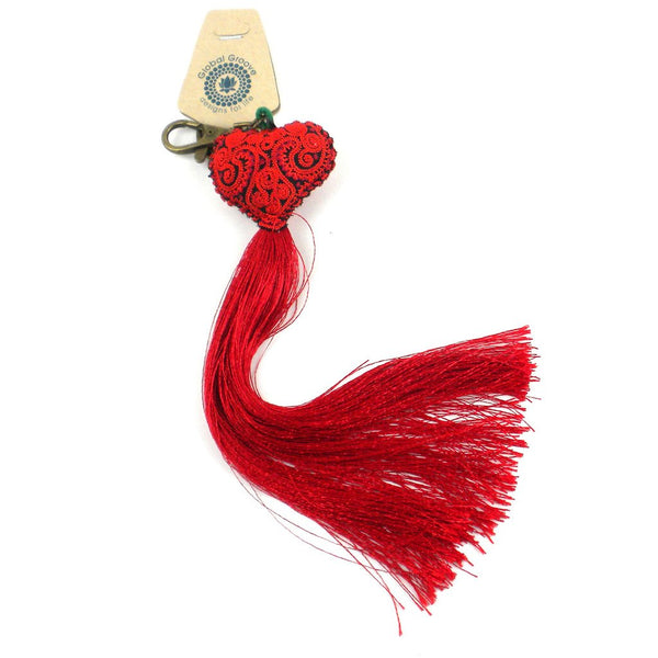 Heart Tassel key chain - Red - Global Groove (A)