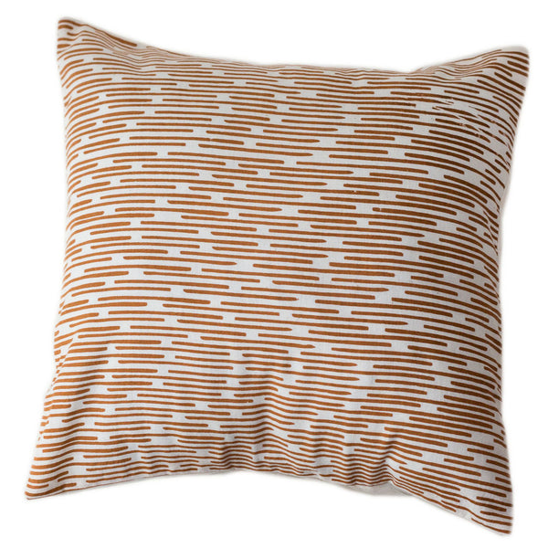Copper Dashes Pillow Cover 12 by 12 - Sustainable Threads (L)