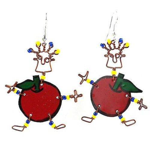 Dancing Girl Rosy Apple Earrings - Creative Alternatives