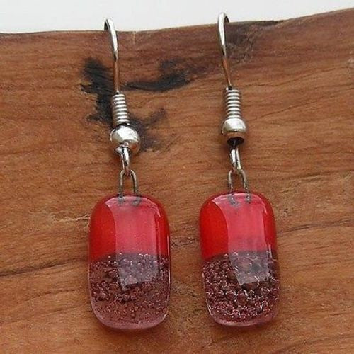 Red Bubbles Small Glass Earrings - Tili Glass