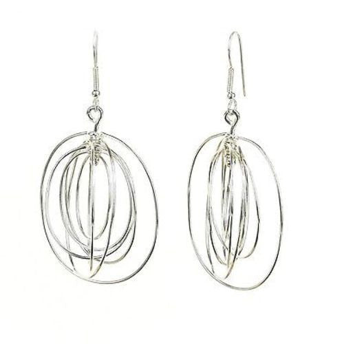 Large Silverplated Seven Ovals Earrings - Artisana