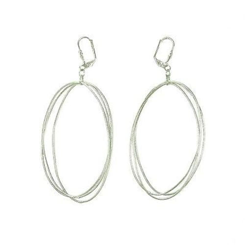 Edie Triple Oval Earrings in Silvertone - WorldFinds