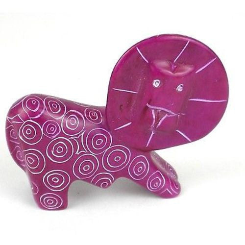 Handcrafted Mini Soapstone Funky Lion Sculpture in Purple - Smolart