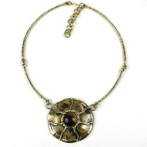Gold Tiger Eye Sun Necklace - Brass Images (N)