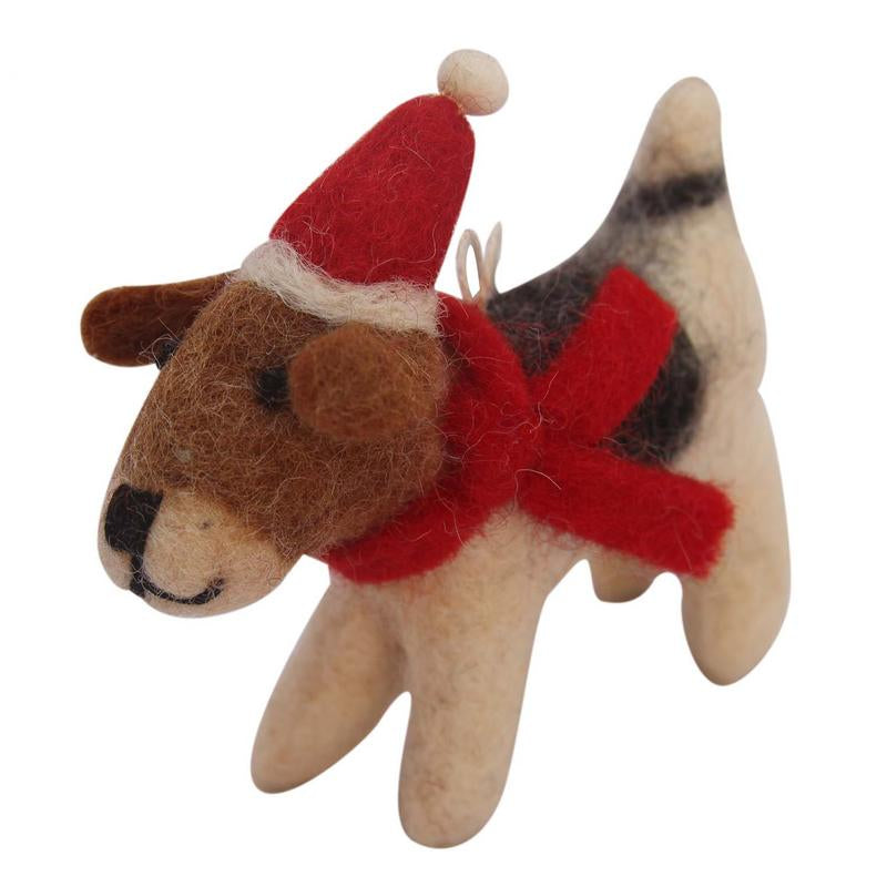 Felt Beagle Ornament with Santa Hat