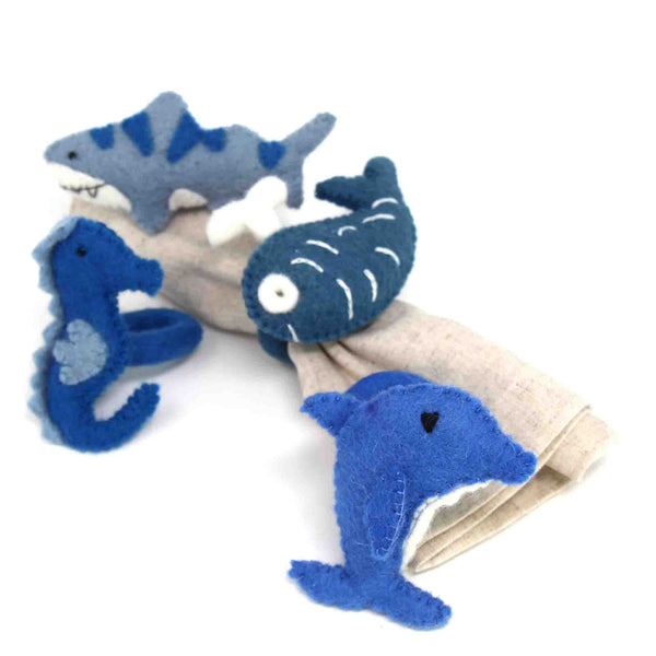 Nautical Shark, Whale & Seahorse Felt Napkin Rings, Set of 4