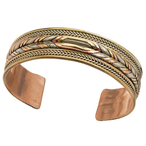 Copper and Brass Cuff Bracelet: Healing Braid - DZI (J)