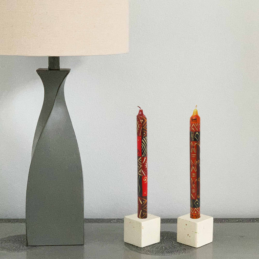 Set of Three Boxed Tall Hand-Painted Candles - Bongazi Design - Nobunto