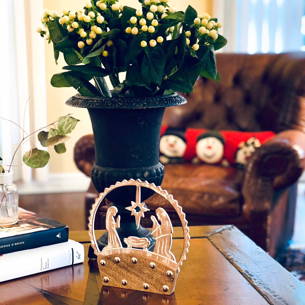 Mango Wood Tabletop Nativity Silhouette
