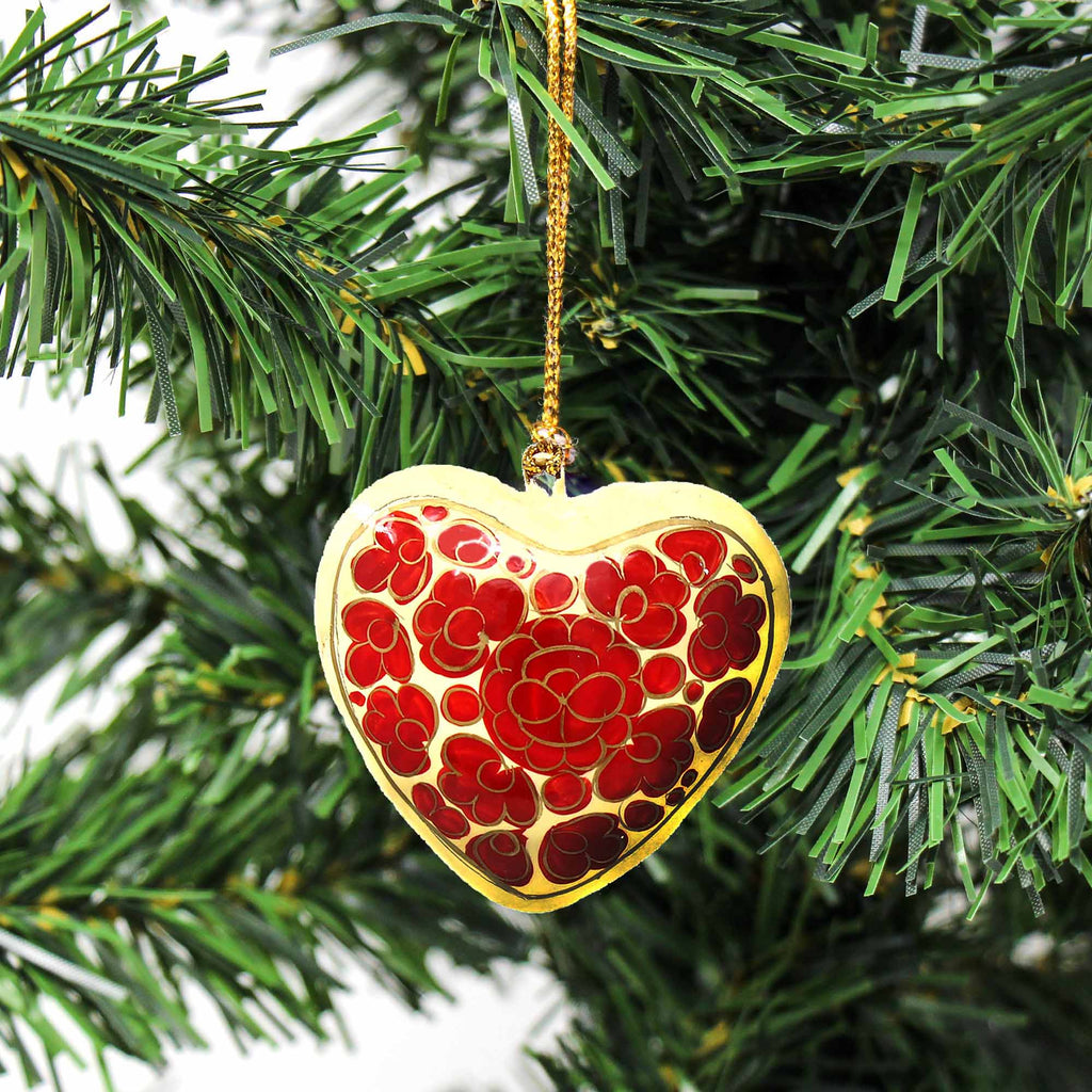Handpainted Ornaments, Floral Heart - Pack of 3