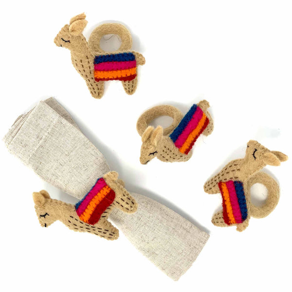 Llama Napkin Rings, Set of Four Tan - Global Groove (T)