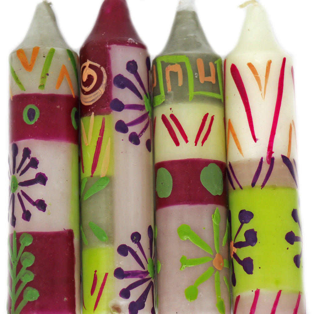 "Hand-Painted 4"" Dinner or Shabbat Candles, Set of 4 (Kileo Design)"