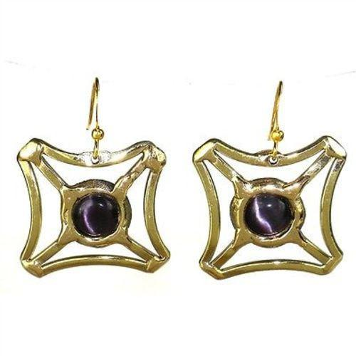 Purple Tiger Eye Square Earrings - Brass Images (E)