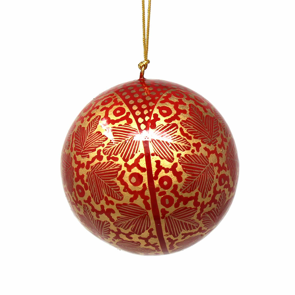 Handpainted Ornaments, Gold Chinar Leaves - Pack of 3