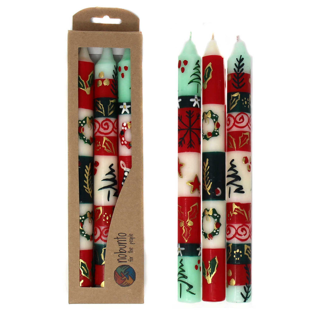 Set of Three Boxed Tall Hand-Painted Candles - Ukhisimui Design - Nobunto