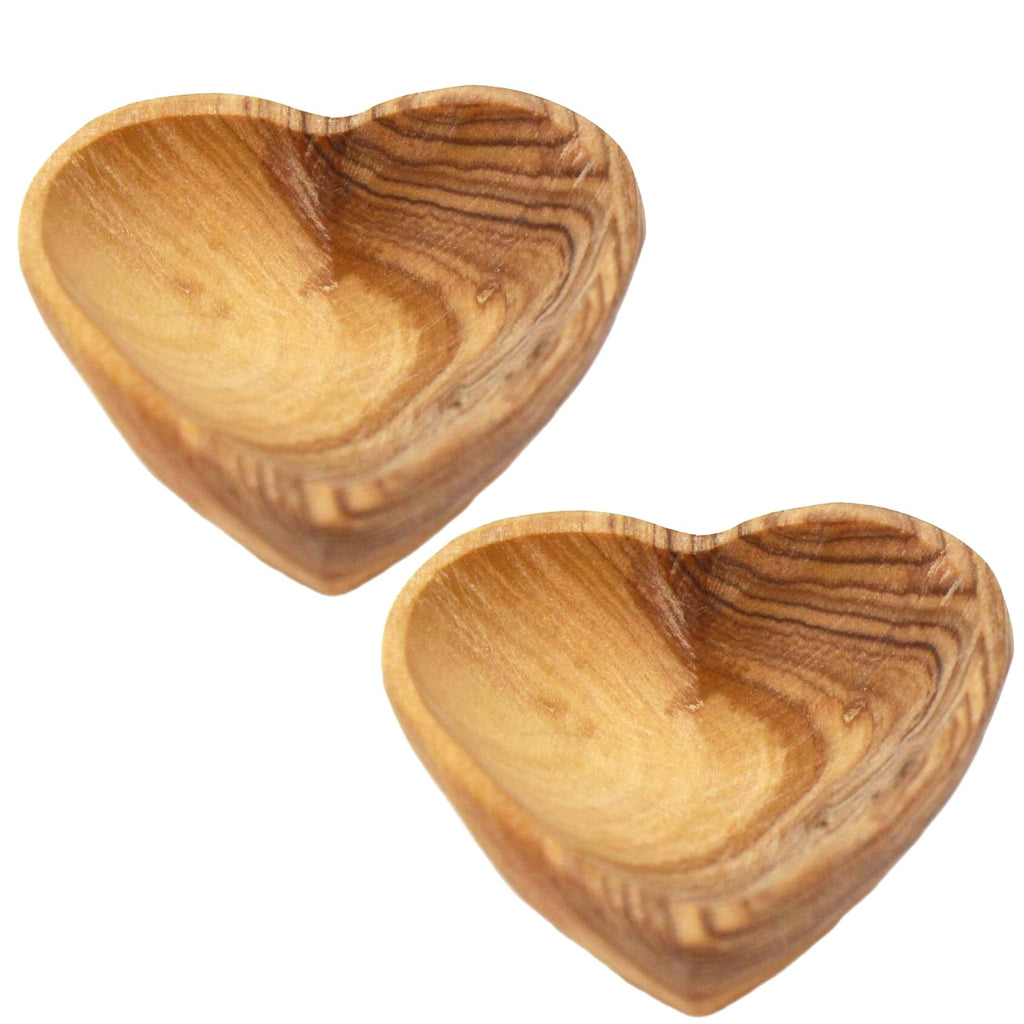 Petite Olive Wood Heart Trinket Bowls - Set of 2