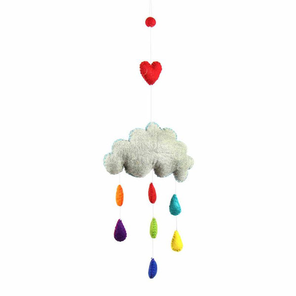 Rainbow Raindrops Felt Mobile Hanging Room Decor