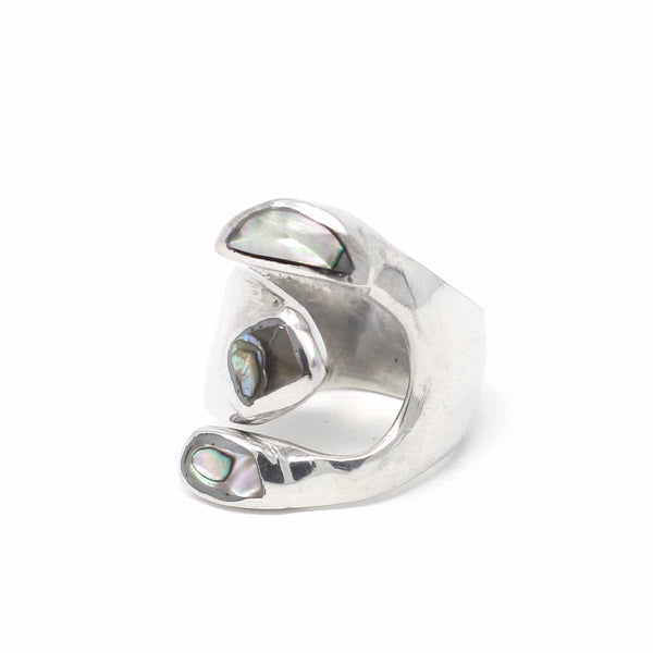 Alpaca Silver Wrap Ring, Abalone - Size 8
