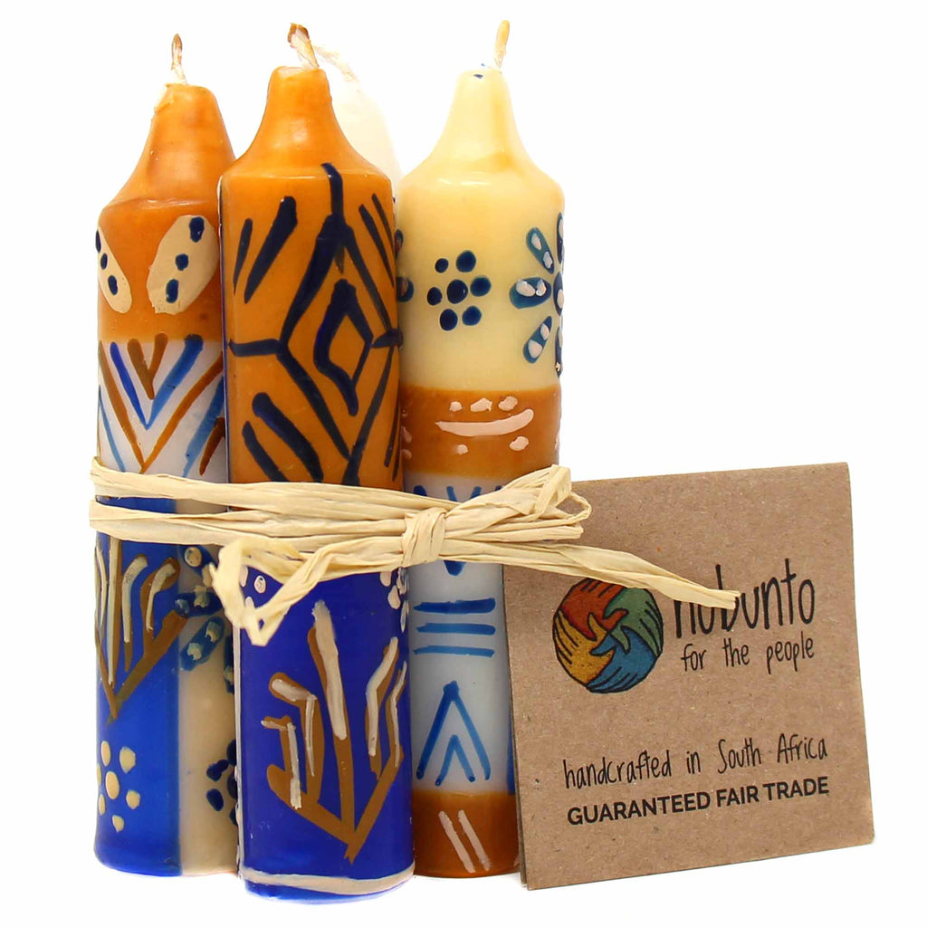 "Hand-Painted 4"" Dinner or Shabbat Candles, Set of 4  (Durra Design)"