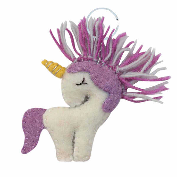 Hand Crafted Felt from Nepal: Key Chain, Purple Unicorn - Global Groove (A)