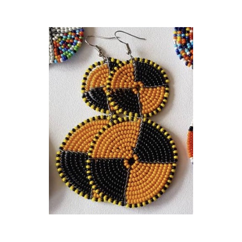 Maasai Bead Double Circle Dangle Earrings, Gold and Black