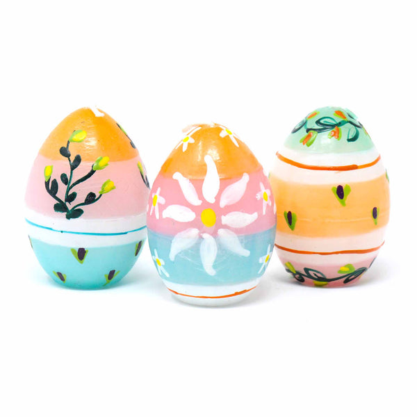 Hand-Painted Oval Votive Candles, Boxed Set of 3 (Imbali Design)