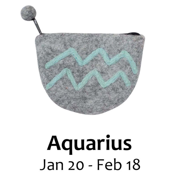Felt Aquarius Zodiac Coin Purse - Global Groove