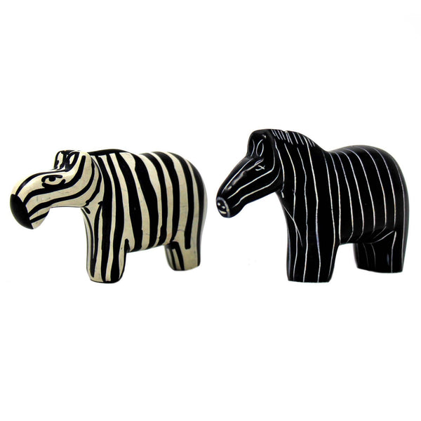 Zebra Soapstone Sculptures, Set of 2