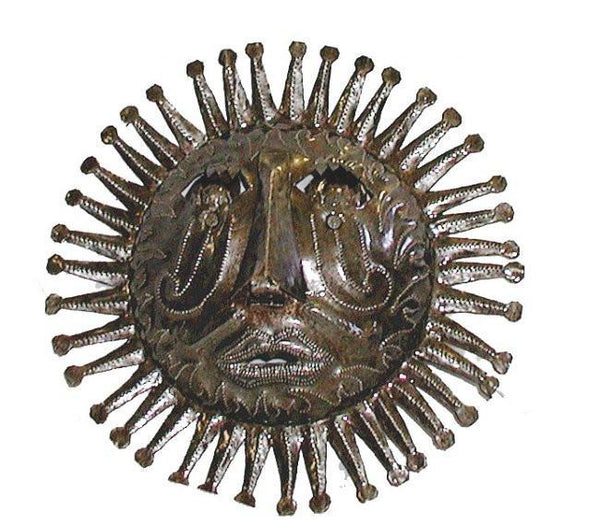 "10"" Haitian Metal Steel Drum Sun Face in Natural - Caribbean Craft"