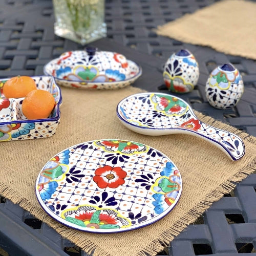 Handmade Pottery Spoon Rest, Dots & Flowers - Encantada