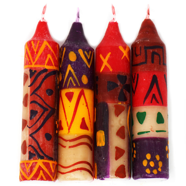 "Hand-Painted 4"" Dinner or Shabbat Candles, Set of 4  (Indabuko Design)"