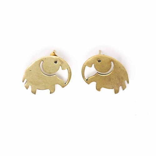 Elephant Brass Stud Earrings