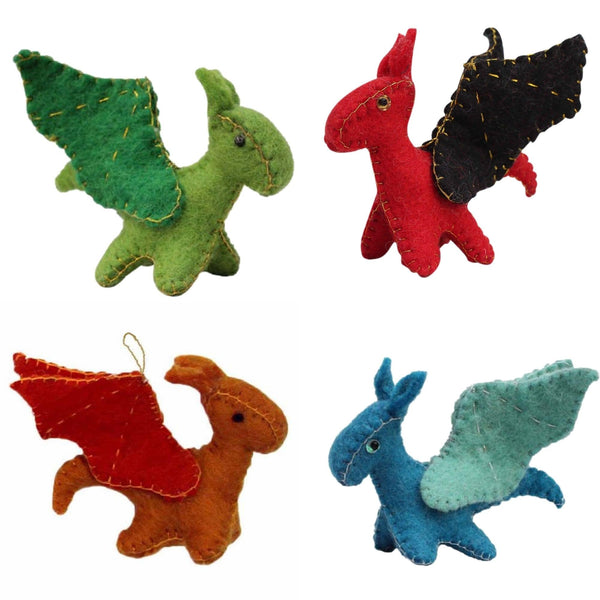 Mythical Dragons Felt Ornaments, Set of 4