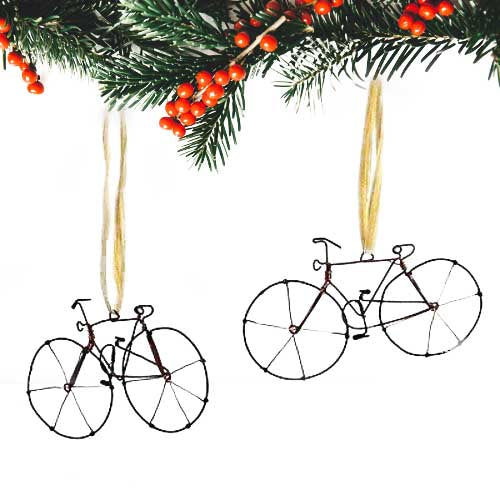 Recycled Wire Bicycle Ornament, Set of 2