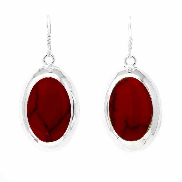 Earrings, Red Jasper Ovals