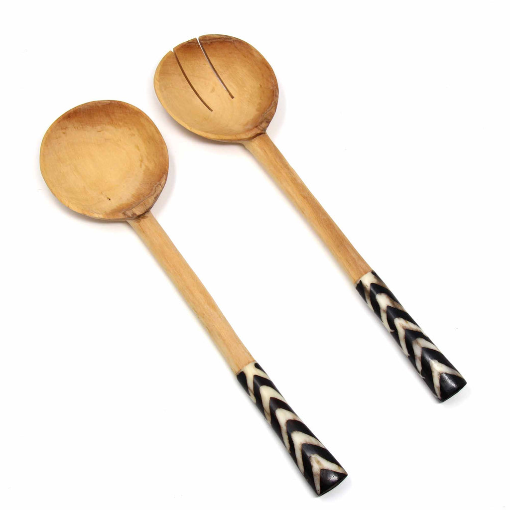 Olive Serving Set with Bone Handles 10 inch