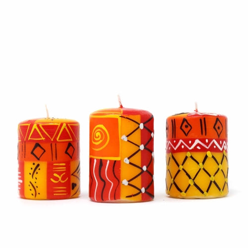 Set of Three Boxed Hand-Painted Candles - Zahabu Design - Nobunto