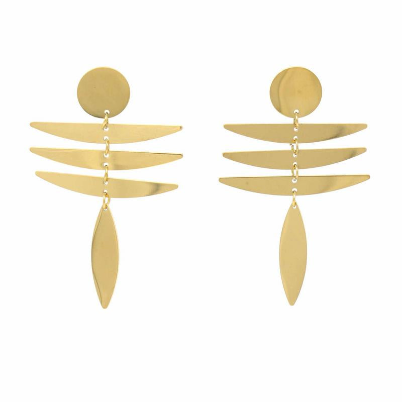Earrings: 18k Gold Plated Stainless Steel Fringe Dangle - Starfish Project
