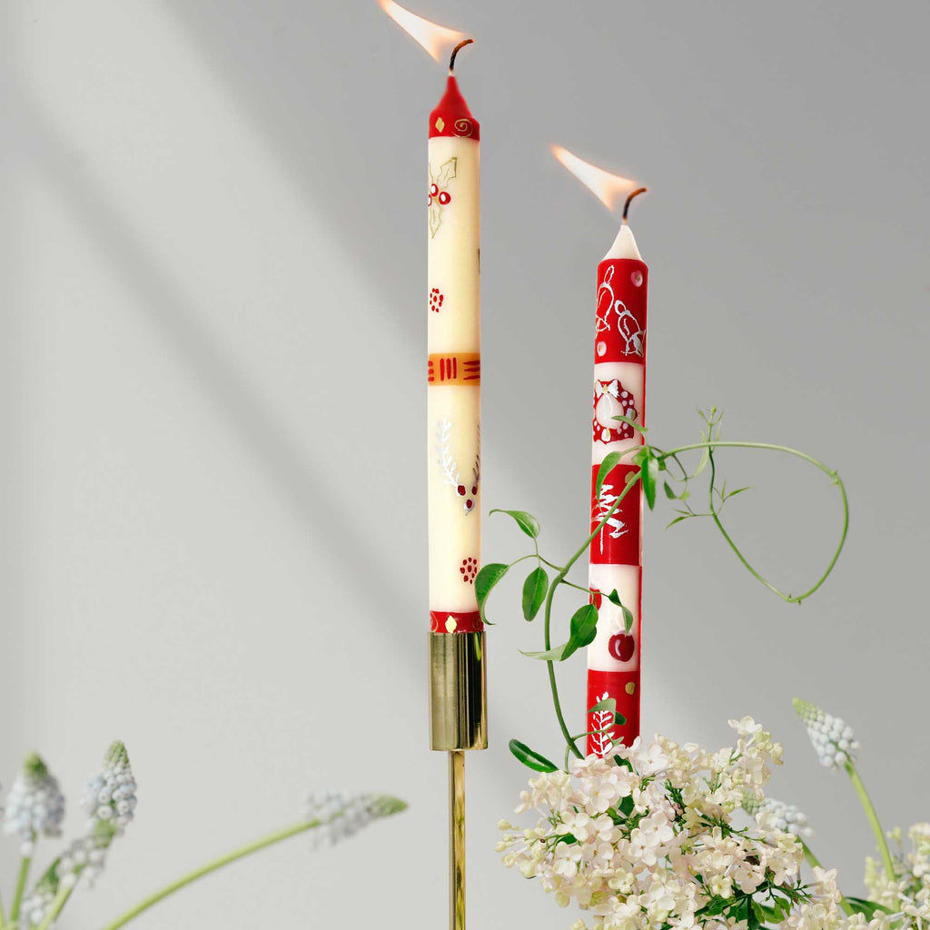 Tall Hand Painted Candles - Pair - Kimweta Design - Nobunto