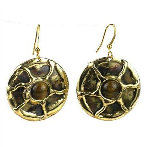 Gold Tiger Eye Sun Earrings - Brass Images (E)
