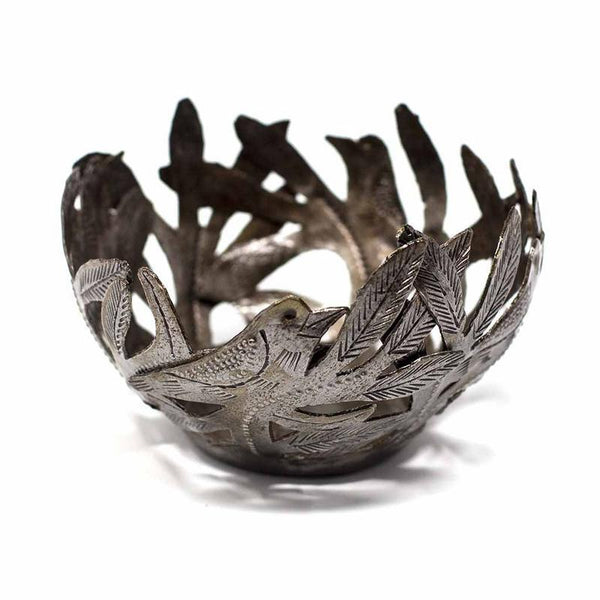Decorative Metal Bowl with Birds - Croix des Bouquets