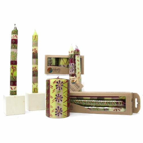 Hand Painted Candles in Kileo Design (pair of tapers) - Nobunto