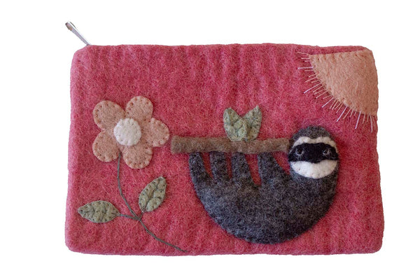 Hand Crafted Felt: Sloth Pouch