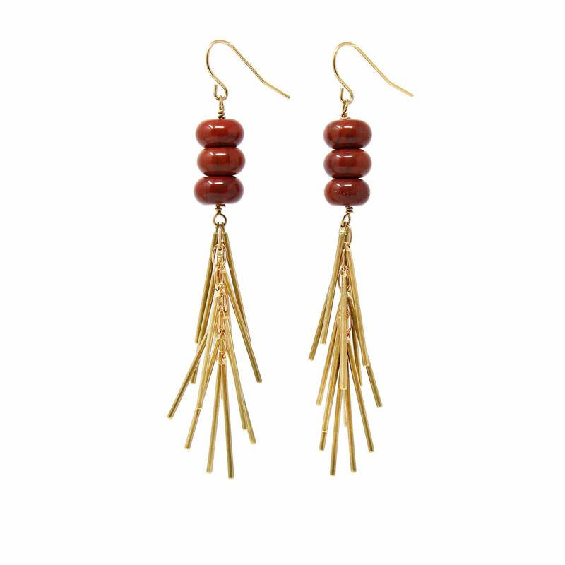Earrings: Red Jasper and Metal Fringe - Starfish Project