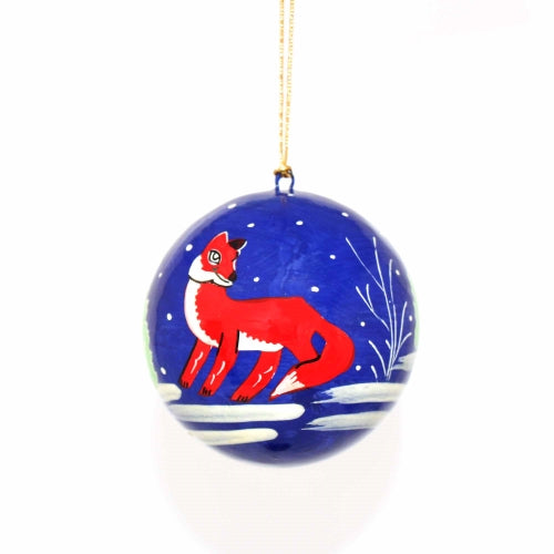 Handpainted Ornament Fox - Pack of 3